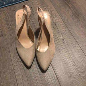 Nude strap back heels